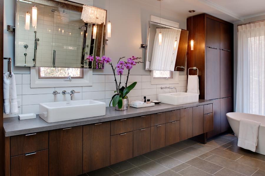 Mid century modern master suite remodel fine homebuilding for Long master bathroom designs
