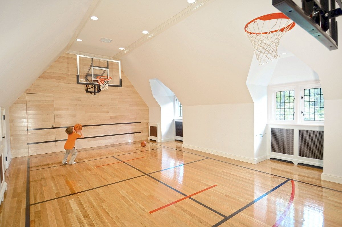 Greenwich english tudor fine homebuilding Indoor basketball court ceiling height