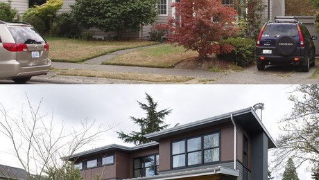 Front of house, before and after.