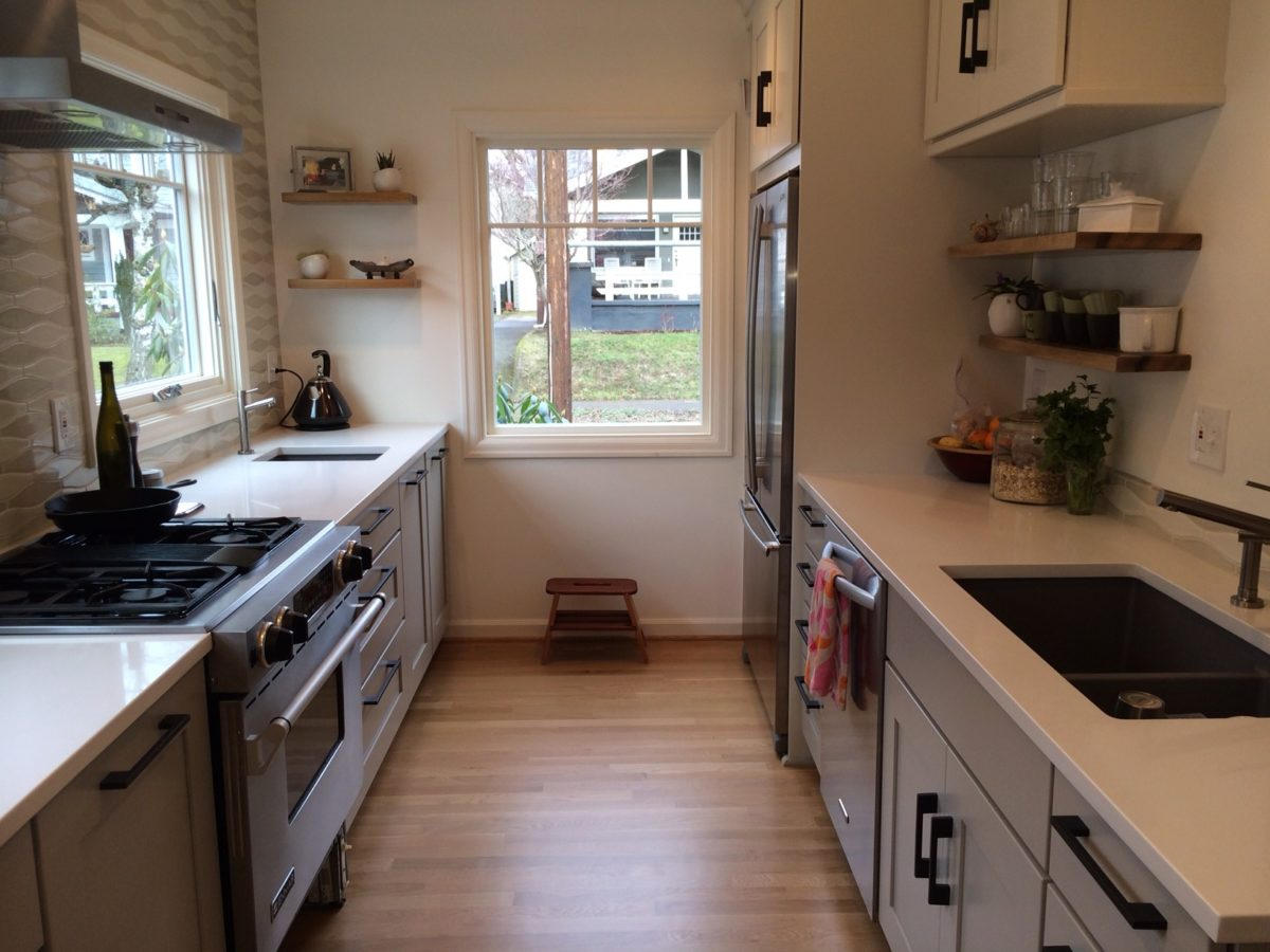 Small galley kitchen made spacious fine homebuilding for Very narrow galley kitchen
