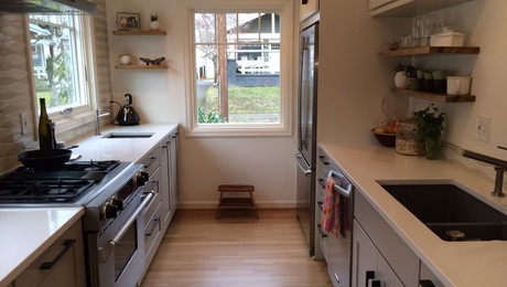Small galley kitchen made spacious fine homebuilding for Small galley kitchen designs layouts