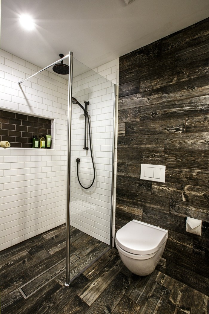 Modern farmhouse bath fine homebuilding for Farmhouse bathroom tile design ideas