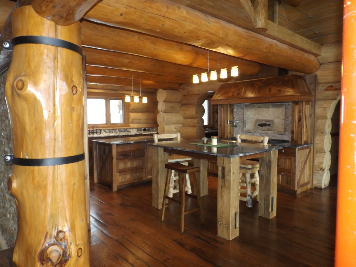 Cabin kitchen incredible home design for Log cabin kitchens and baths