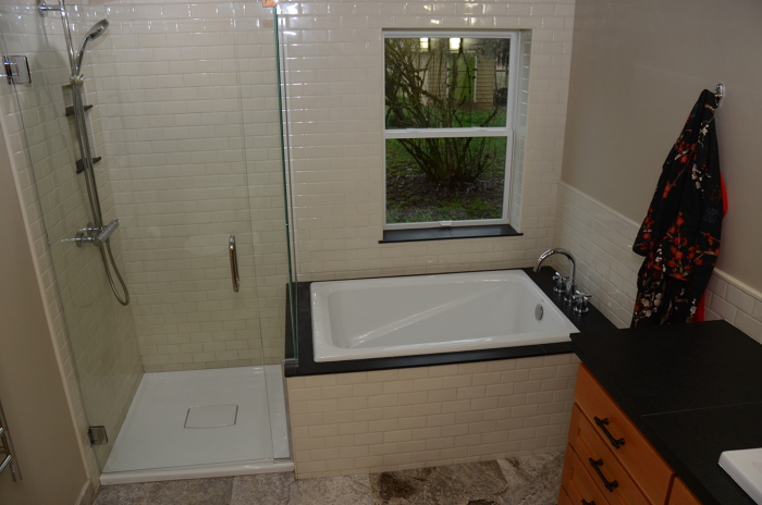 Tile Shower And Deep Soaking Tub