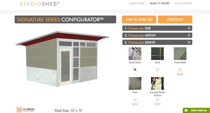 online shed design and pricing tool