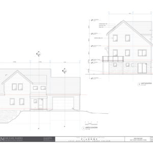 North (front) and east elevations of the final ProHome design.