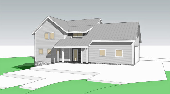 With the garage moved to the west of the house, the house has a sleek yet traditional look.