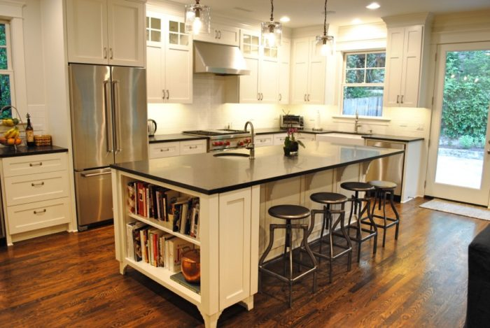 13 ways to make a kitchen island better fine homebuilding for Making a kitchen island from cabinets