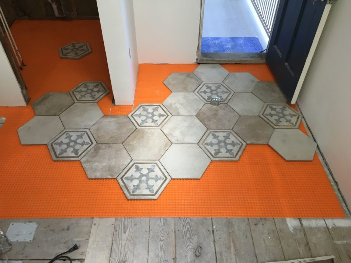 Tile To Wood Floor Transition perfect glass mosaic transition from the tile to the wood look porcelain tile The Transition In Our Case The Wood Flooring Is 34 Thick So We Need The Tile To Be Installed At The Same Height We Opted For Schluter Ditra Xl Which