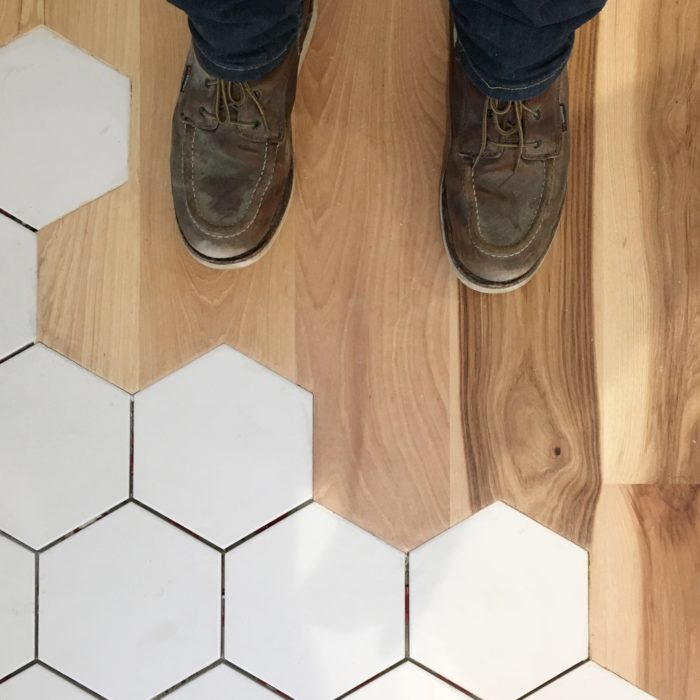 Tile To Wood Floor Transition the simple transition between hexagonal tiles and wood When I First Came Across An Organic Transition Between Tile And Wood I Knew Immediately I Needed To Incorporate This Design In My Next Build