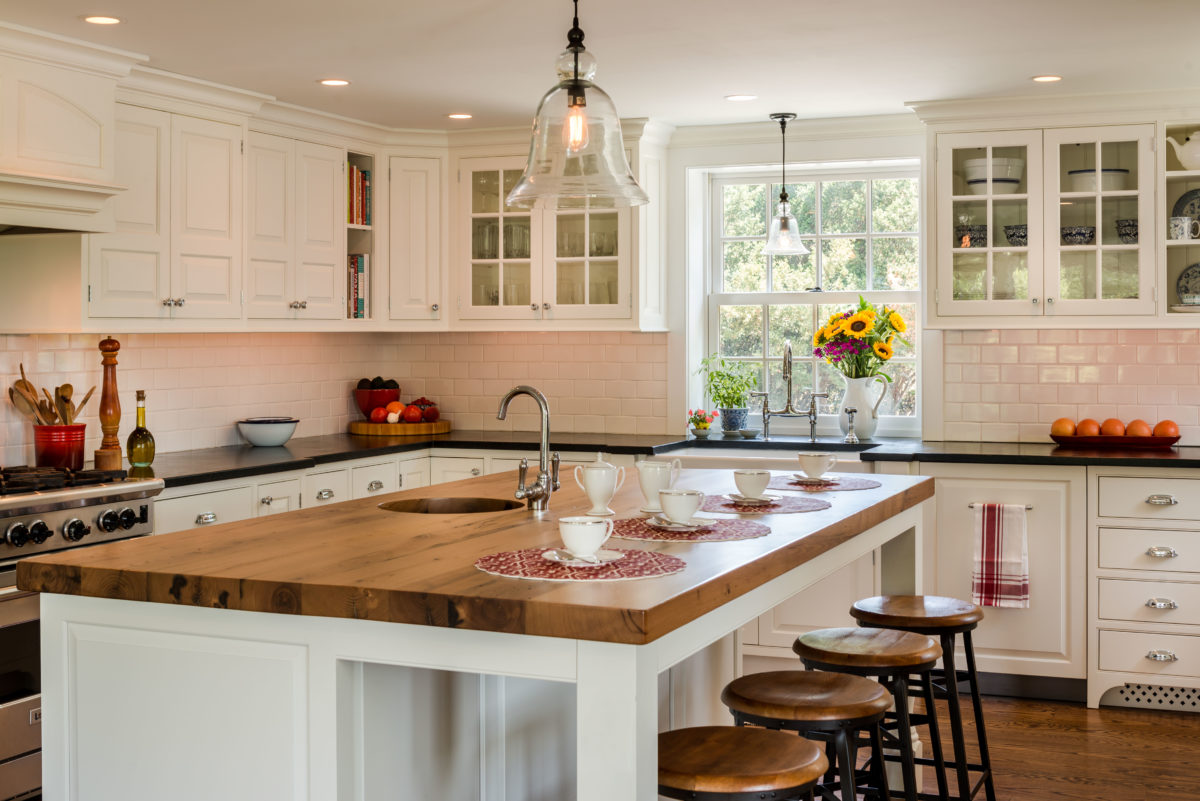 of the existing house white subway tile soapstone countertop and reclaimed chestnut countertop on the island accent the beaded inset cabinetry - Beaded Inset House 2016
