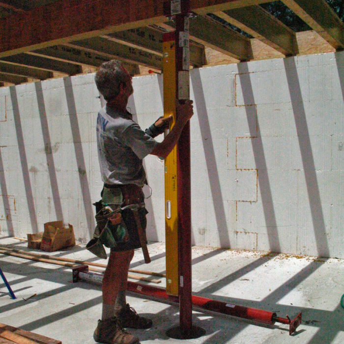 Basement beam columns fine homebuilding for How to build a house on pillars