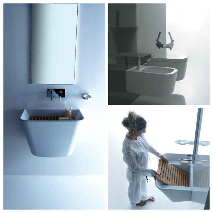 The wall-hung basin looks sharp and is easy to clean (left). The extensive Meg11 collection includes matching toilet and bidet (top right). The ridges in the wooden grate function as a washboard when you tilt the grate into the basin (bottom right).