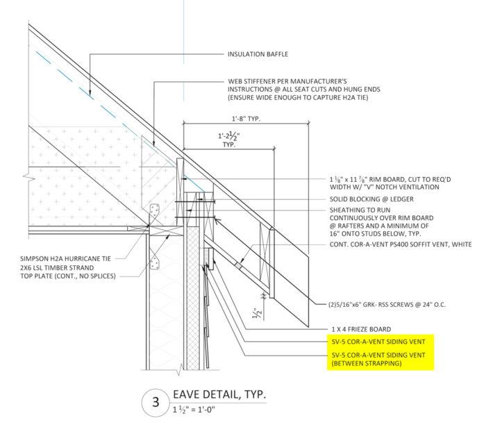 Eave overhang detail
