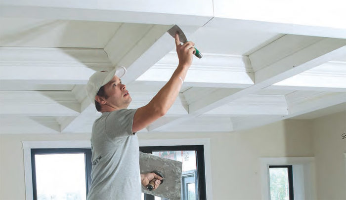 A new approach to coffered ceilings fine homebuilding for Foam coffered ceiling