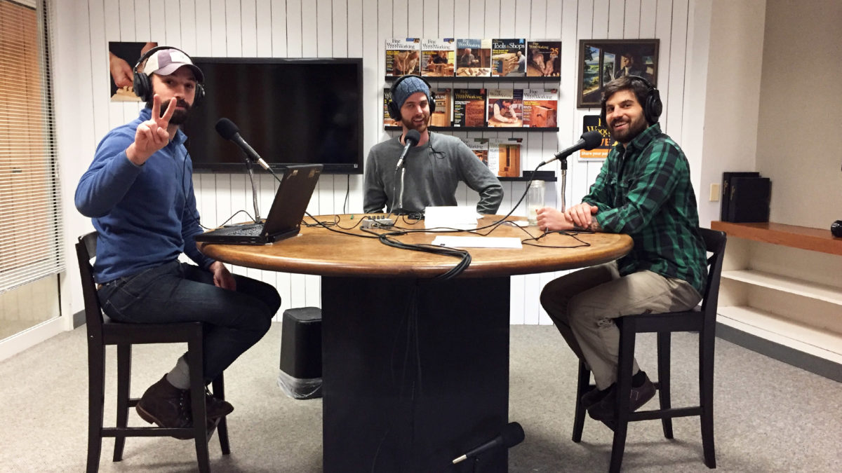 The new Fine Homebuilding podcast studio. Rob Yagid, left; Justin Fink, center; Brian Pontolilo, right.