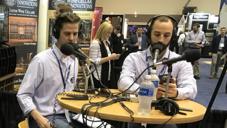 FHB editor Justin Fink (left) and editorial director Rob Yagid (right) record a podcast episode at the International Builders' Show in 2017.