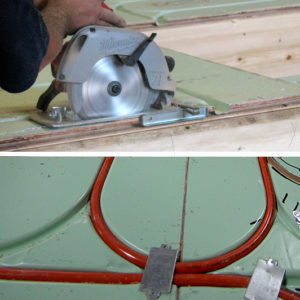 Warmboard cuts with a standard circular saw. Nailplates make handy temporary hold-downs.