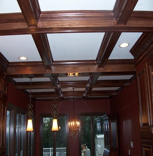 Custom Stained Poplar Coffered Ceiling Fine Homebuilding