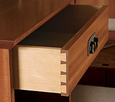 Half-blind dovetails are the most common joints for attaching drawer ...