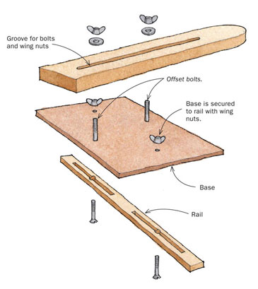 Tablesaw jig with an adjustable stop