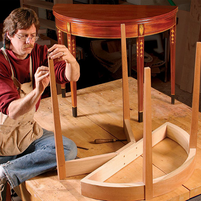 it takes both traditional and modern techniques to build steve lattas demilune card table a design that dates to the early years of american independence