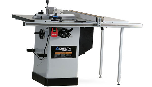 delta table saw. the delta 36-717 includes a 14-in.-wide side table with support legs. it showed fair parallelism in our tests. i tested blade-to-slot (parallel saw
