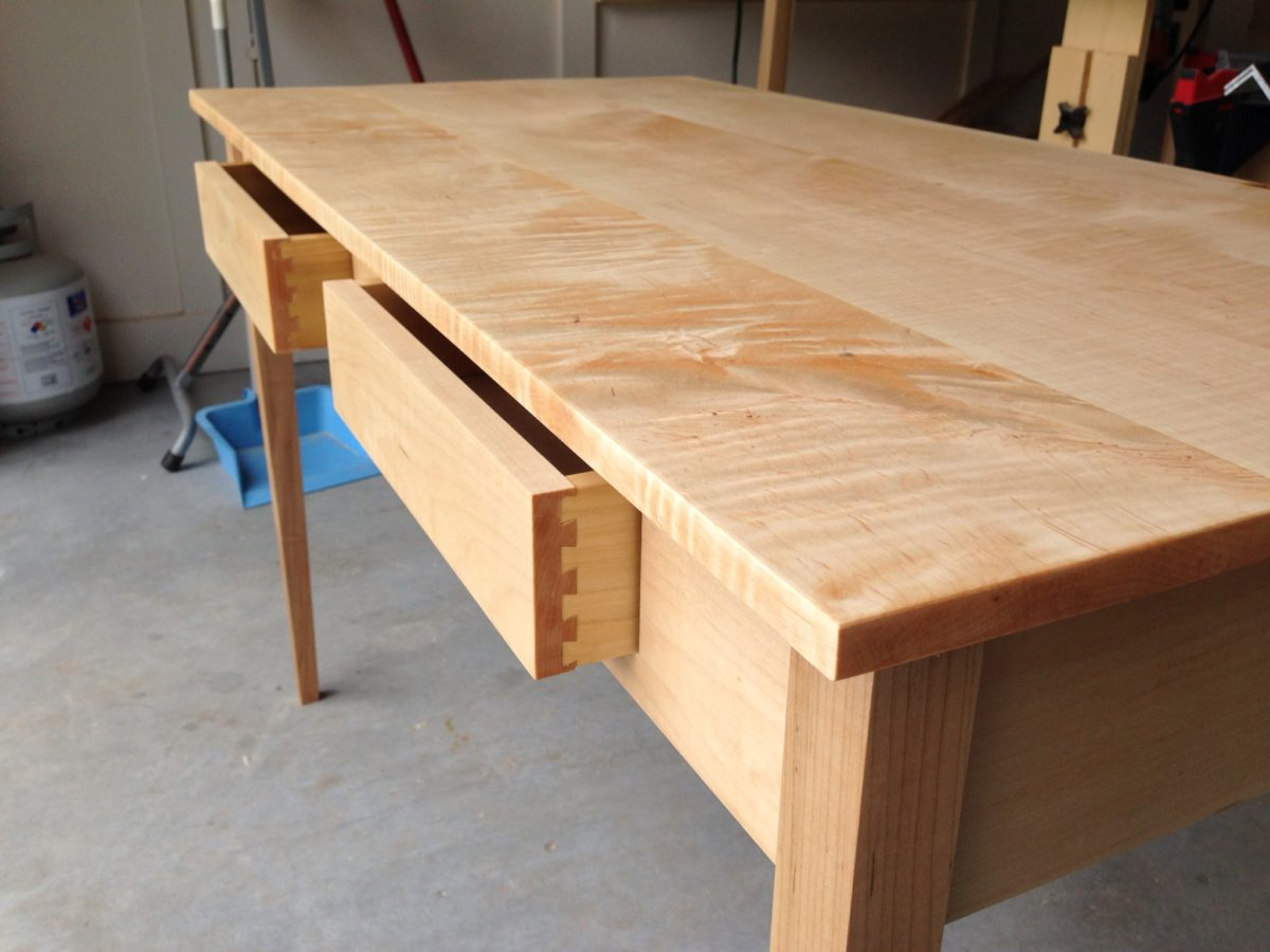 curly maple desk  finewoodworking - some of the figure in the top  curly maple