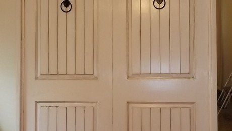 30 inch new hollow doors, 2x4s, some crown molding. Antiquing is gell stain on latex paint.