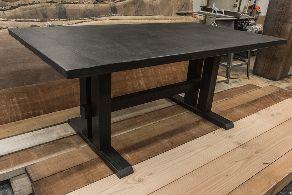 A Custom Designed Dining Table Made From Reclaimed Wood And Finished Using The Shou Sugi Ban Technique Regina Saskatchewan