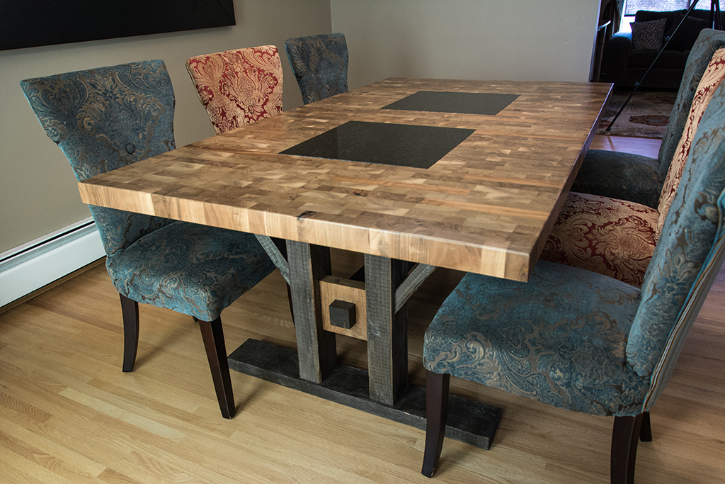 A Custom Walnut Butcher Block Style Dining Table With Granite Inserts And Reclaimed Wood Legs Regina Saskatchewan