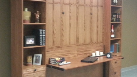 Frank Lloyd Wright Inspired Murphy Bed with bookcases.