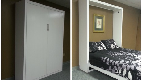 Contemporary Murphy bed that folds into the cabinet
