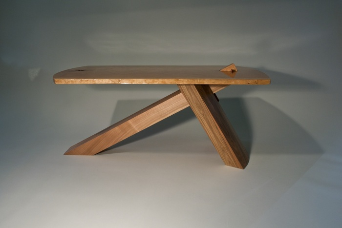 Exceptional ... I Did Full Scale Drawings. The Rounded Leg (walnut) Is Mortised Into  The Tabletop, Which Is A Single Piece Of 60cm Wide Cherry. The Cantilever  ...