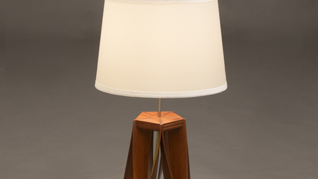 Wishbone Table Lamp Made with artfully bent sapele wood legs producing elegant silhouettes and shadows. Shellac and lacquer finish.