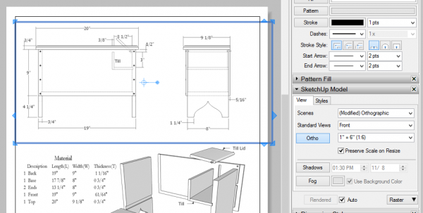 So I Created A New Scale 1:6 As Shown Below (on The Right) In The SketchUp  Model Dialog Box.