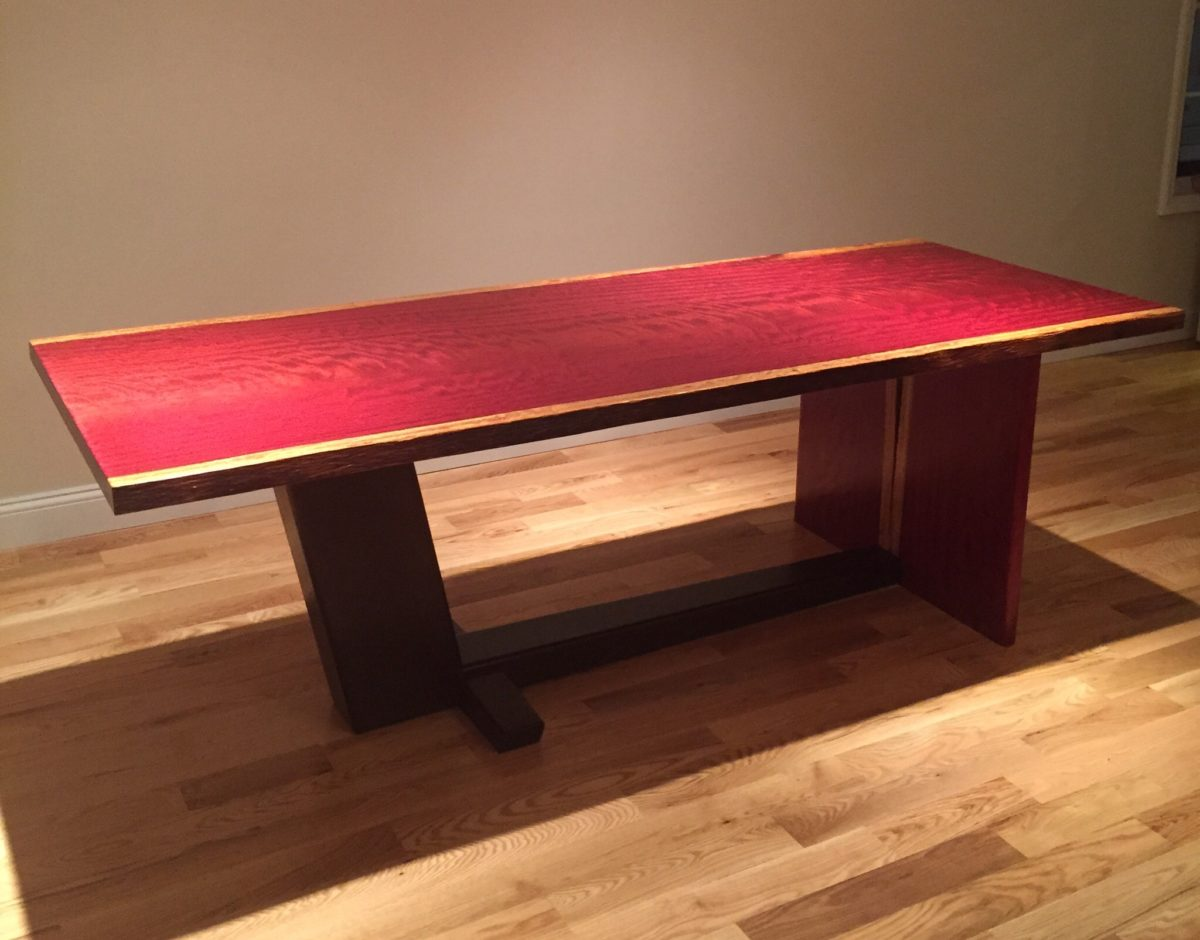 X. PurpleHeart and wenge table and benches   FineWoodworking