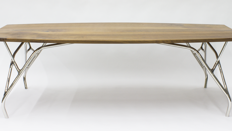 Walnut tabletop on organic stainless steel frame