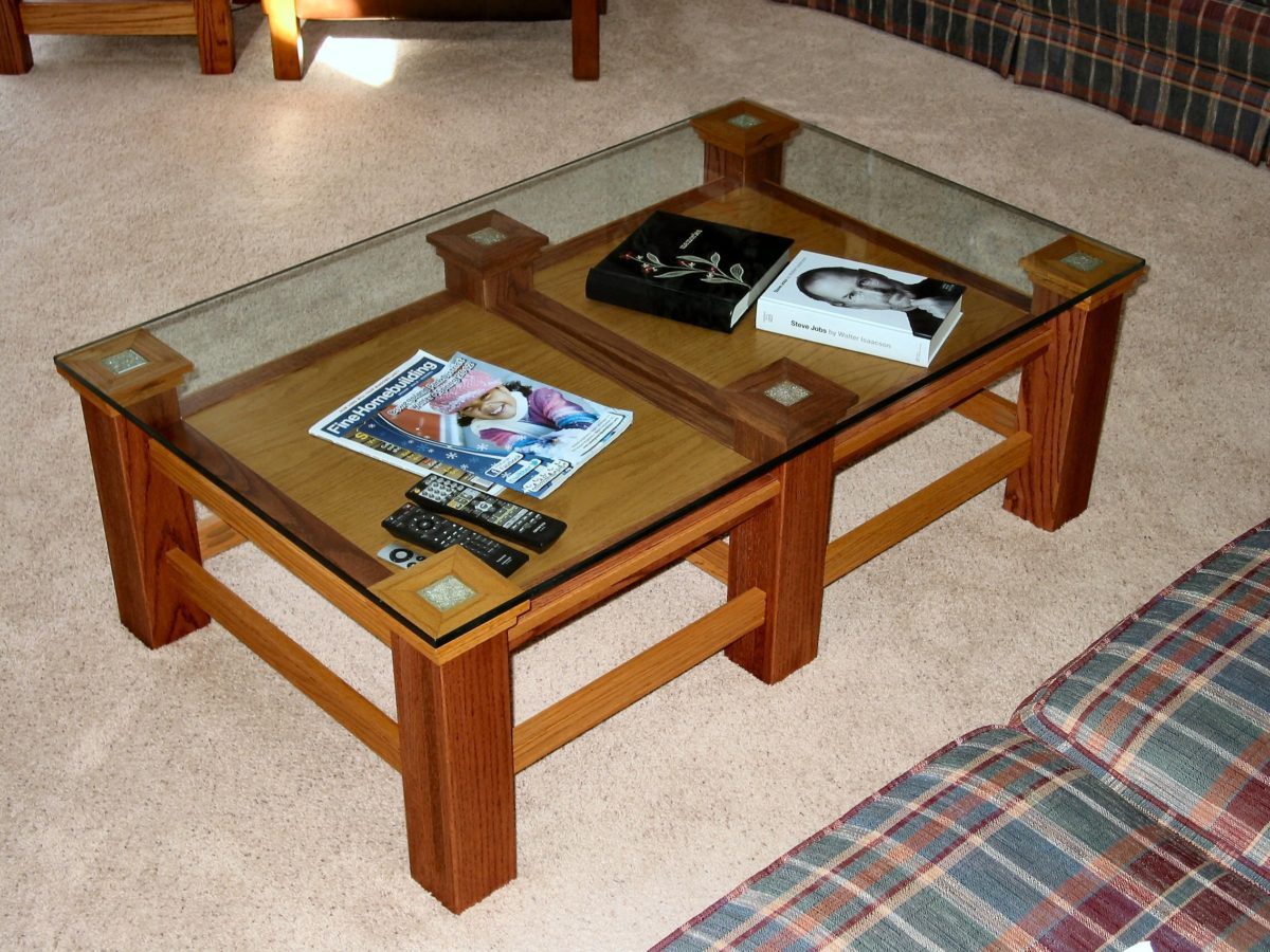 3 table family room project using pocket hole joinery finewoodworking One piece glass coffee table