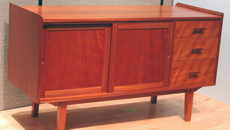 Pamela Goldman of LA made this media cabinet from sipo, an African wood that makes a beautiful substitute for true mahogany.