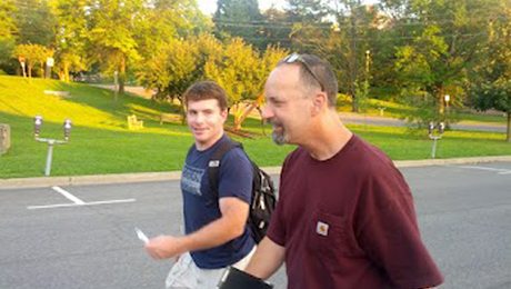 The blog boys from MWA took the FWW staff and authors on a neverending trek across New Paltz the first night. That's Mike Pekovich walking with Nick Roulleau.