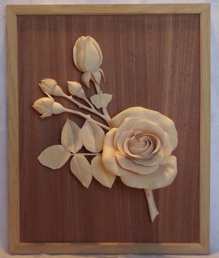 Fine woodcarving a real rose finewoodworking