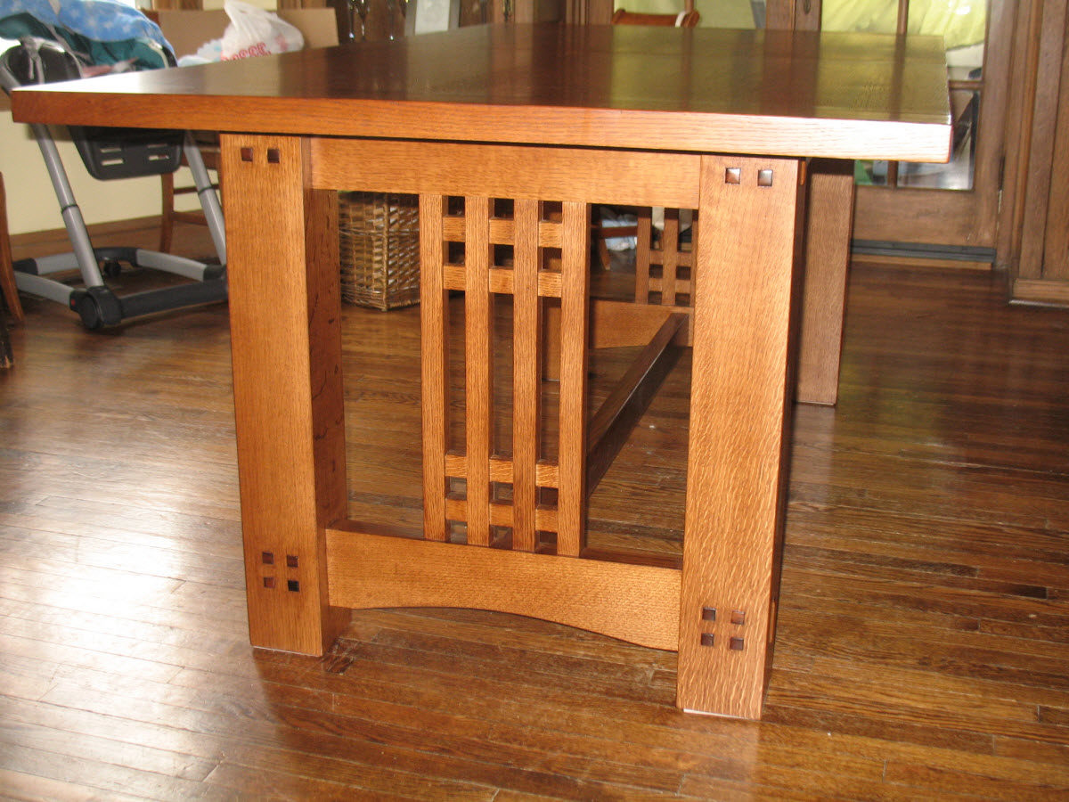 Arts crafts inspired dining table finewoodworking for Arts and crafts style table