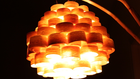 The beehive pendant shade of my own design. Light by LED bulb.
