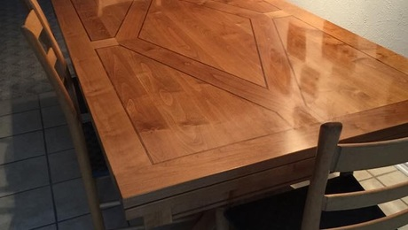 Build this trestle dining table with pull out leafs for my niece out of alder. She had a picture which I used to design and build the table.