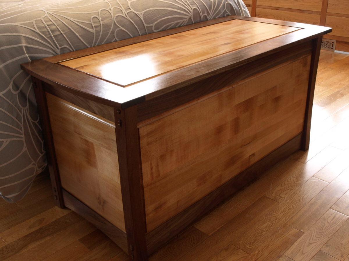 Maple and walnut blanket box finewoodworking