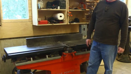 Frank Howarth bought and rehabilitated this 12-in. jointer which dates to the early 20th century.