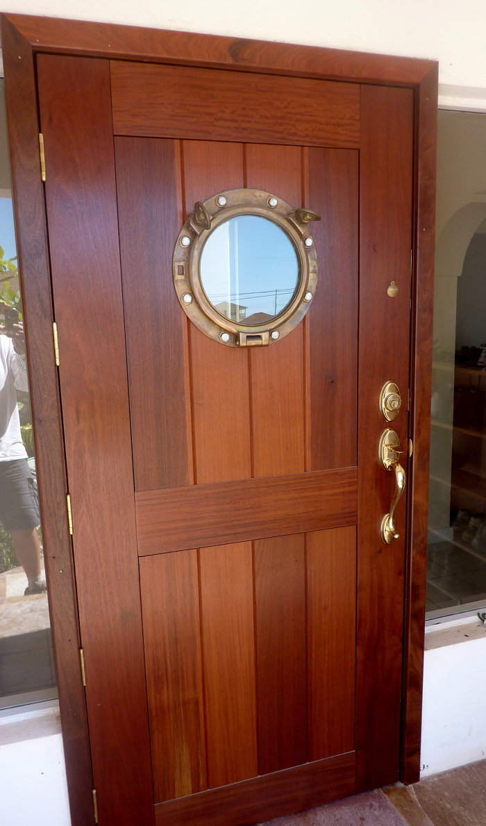 I Made This Front Door To My House From Some 1 3/4u2033 Ipe And An Old Brass  Port Hole Salvaged From A Local Shipwreck.. The Door Was So Heavy We Had To  ...