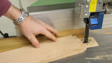 Furnituremaker Stephen Hammer often uses this simple bandsaw jig to hold his tail boards at the proper angle while sawing them out on the bandsaw.