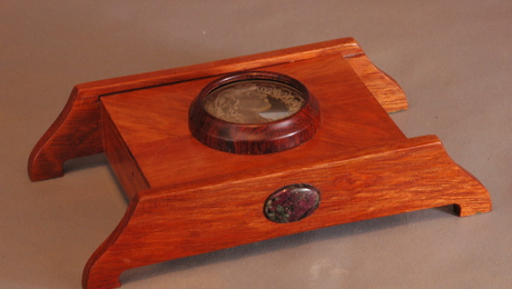 Bloodwood and Cocobolo box with a carved glass inset.